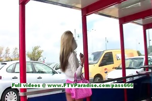 suzanna outstanding golden-haired woman public