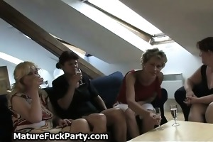 group of excited mature chicks engulfing