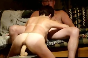 excited wife rides large sextoy and sucks schlong