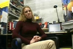 older golden-haired disrobes and masturbates in