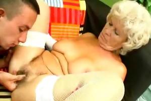 lewd granny rides on a hard ramrod