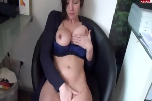 sexy busty brunnette fingers herself