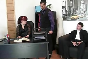 fortunate dudes group-sex business lady