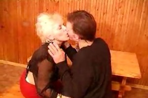 hawt granny and guy take threesome vodka