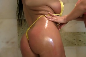 juicy and oiled breasty bikini milfs play in the