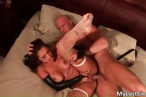 lascivious brunette hair hoe with massive