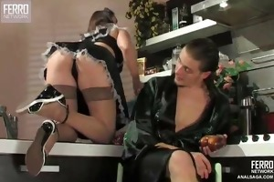 sexy maid creampied anally
