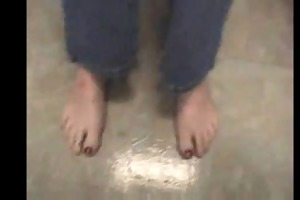 aged woman shows feet