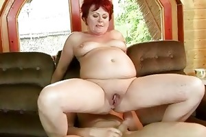 corpulent grandma acquires her constricted muff