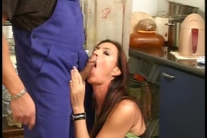 farmers wife has three-some goods in the kitchen