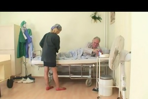 concupiscent nurse enjoyment with grand-dad