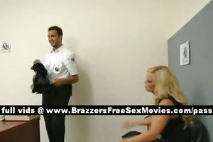 naughty blond slut in a police station