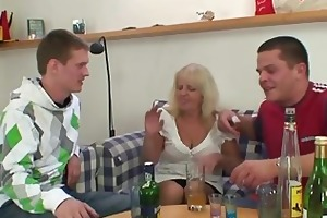 drinking leads to three-some fuckfest with granny