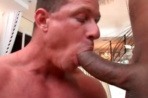 aged muscle lad engulfing darksome penis part5