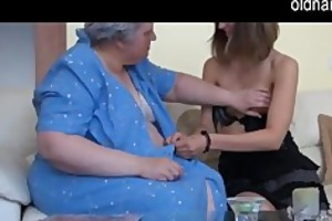 old breasty granny playing with slim gal