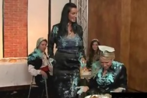 sexually excited hot chicks having food fight at