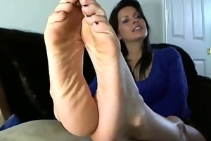 hot aged woman shows the feet and soles