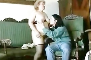 chunky blond granny with unshaved twat