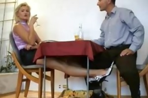 older blonde floozy rubbing miniature cock with