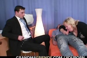 blond granny receives slammed by weenies