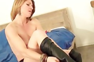 sexy slender housewife stripping