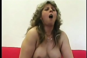 fat aged snatch plugged with a knob