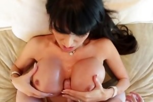 dark brown d like to fuck lies back for tit fuck