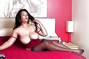 stunning brunette hair momma with huge bazongas
