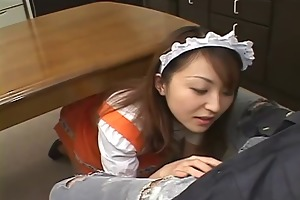 hot japanese maid for the day gobbles down her