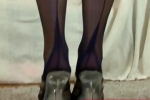 aged woman helps golden-haired hawt nylons
